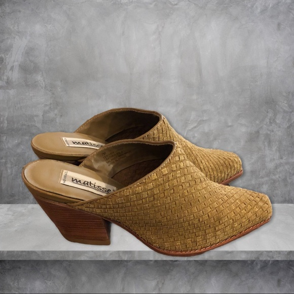 Matisse Woven High Heeled Woven Tan Suede Mules